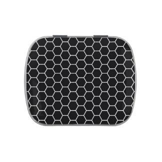 Modelo geométrico blanco y negro del hexágono latas de dulces