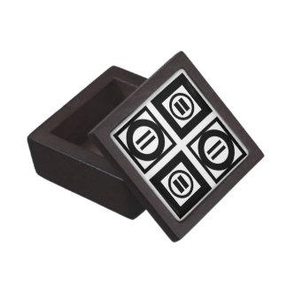 Modelo geométrico blanco y negro del signo de cajas de recuerdo de calidad