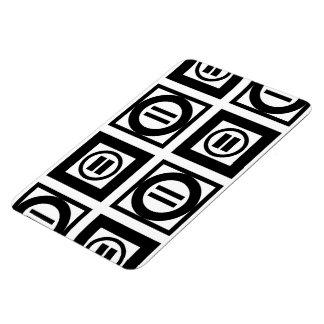 Modelo geométrico blanco y negro del signo de iman rectangular