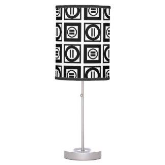 Modelo geométrico blanco y negro del signo de lámpara de mesa