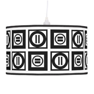 Modelo geométrico blanco y negro del signo de lámpara de techo