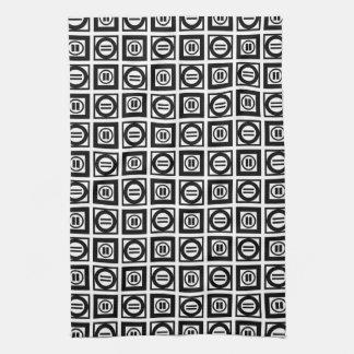 Modelo geométrico blanco y negro del signo de toalla de mano