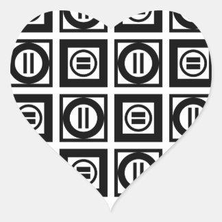 Modelo geométrico blanco y negro del signo de pegatina en forma de corazón