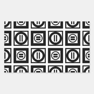 Modelo geométrico blanco y negro del signo de pegatina rectangular