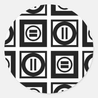 Modelo geométrico blanco y negro del signo de pegatina redonda