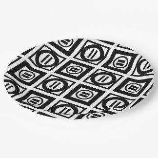 Modelo geométrico blanco y negro del signo de plato de papel de 9 pulgadas