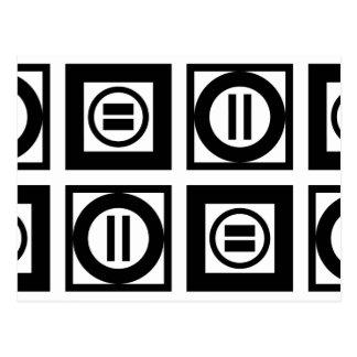 Modelo geométrico blanco y negro del signo de postal