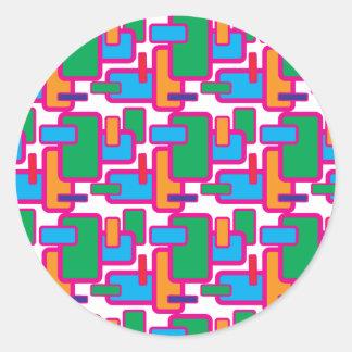 Modelo geométrico colorido de la placa de circuito pegatina redonda