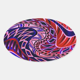 Modelo geométrico colorido calcomanía ovaladas personalizadas