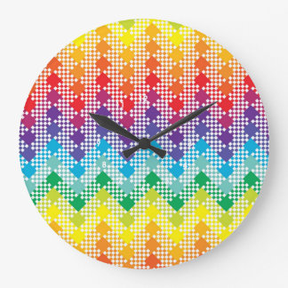 Modelo geométrico de Chevron del arco iris de Tech Reloj De Pared