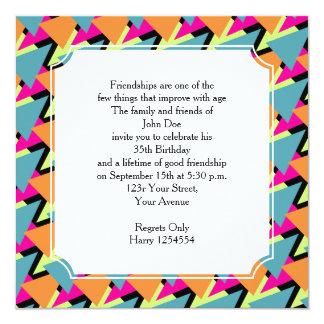 modelo geométrico de la fiesta de cumpleaños del invitaciones personalizada