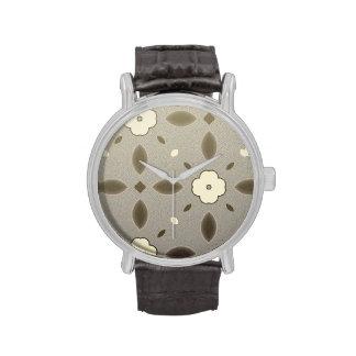 Modelo geométrico de la flor gris y rosada relojes de pulsera
