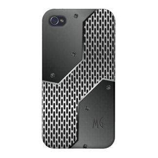 Modelo geométrico de la mirada metálica gris iPhone 4 cárcasa
