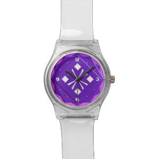 Modelo geométrico de la violeta y de la orquídea relojes de pulsera