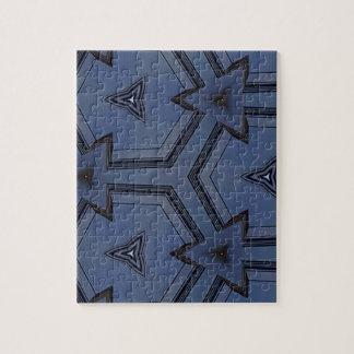 Modelo geométrico de las flechas azules grises de puzzle