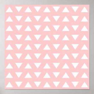 Modelo geométrico de los triángulos blancos en ros poster