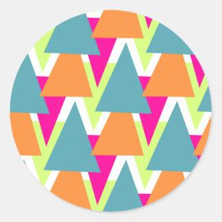 modelo geométrico de neón de los años 80 pegatina redonda