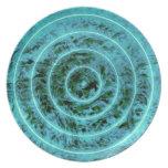 Modelo geométrico del círculo azul elegante del ©  plato para fiesta