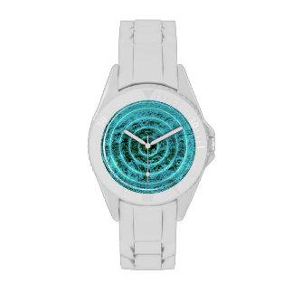 Modelo geométrico del círculo azul elegante del © relojes de pulsera