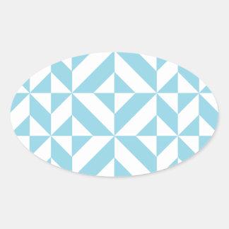 Modelo geométrico del cubo de Deco del azul de Pegatina De Óval