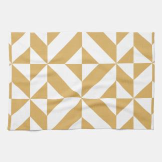 Modelo geométrico del cubo de Deco del oro fresco Toallas De Cocina