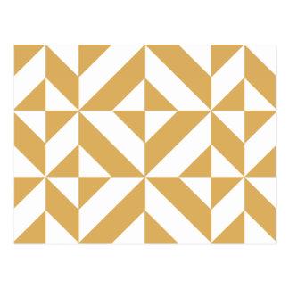 Modelo geométrico del cubo de Deco del oro fresco Postal