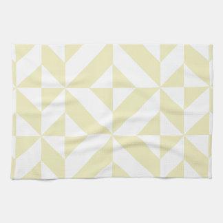 Modelo geométrico del cubo de Deco del oro pálido Toalla De Cocina