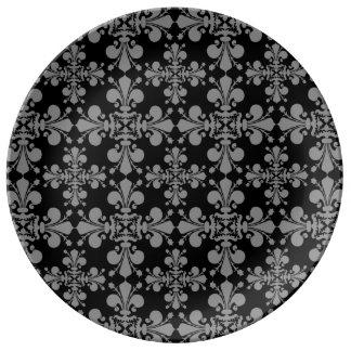 Modelo geométrico del damasco del estilo gótico platos de cerámica