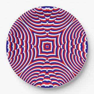Modelo geométrico del Día de la Independencia Plato De Papel De 9 Pulgadas
