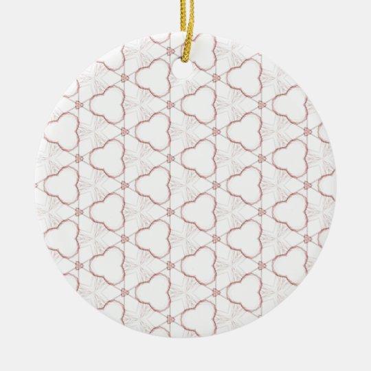 Modelo geométrico del fractal rojo de la flor adorno navideño redondo de cerámica