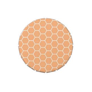 Modelo geométrico del hexágono anaranjado jarrones de caramelos