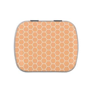 Modelo geométrico del hexágono anaranjado frascos de caramelos