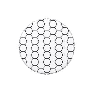 Modelo geométrico del hexágono blanco y negro frascos de caramelos