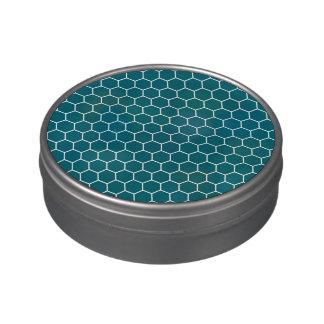 Modelo geométrico del hexágono de la turquesa de m latas de dulces