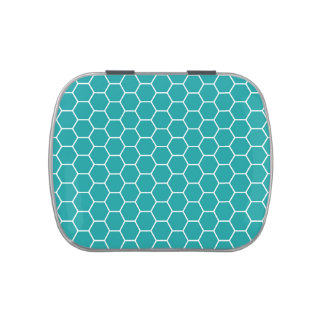 Modelo geométrico del hexágono del panal del trull latas de caramelos