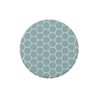 Modelo geométrico del hexágono del panal del trull latas de dulces