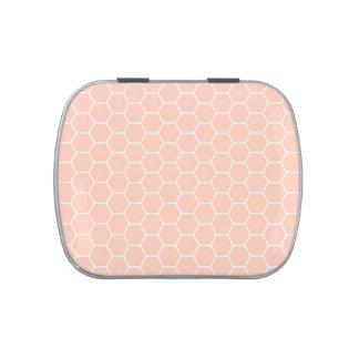 Modelo geométrico del hexágono del panal rosa clar latas de dulces