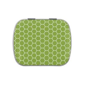 Modelo geométrico del hexágono verde del panal del jarrones de caramelos