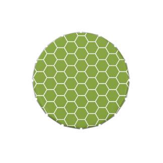 Modelo geométrico del hexágono verde del panal del latas de caramelos