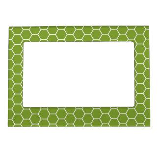 Modelo geométrico del hexágono verde del panal del foto de imanes