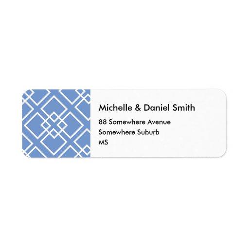 Modelo geométrico del monograma blanco azul etiquetas de remite
