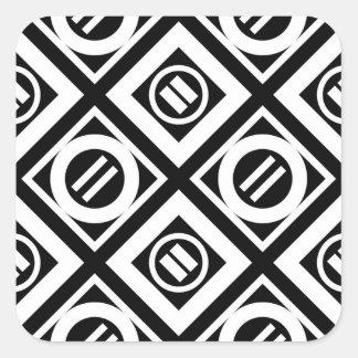 Modelo geométrico del signo de igualdad del blanco pegatina cuadrada