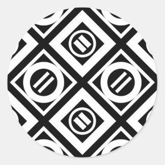 Modelo geométrico del signo de igualdad del blanco pegatina redonda