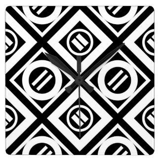 Modelo geométrico del signo de igualdad del blanco reloj cuadrado