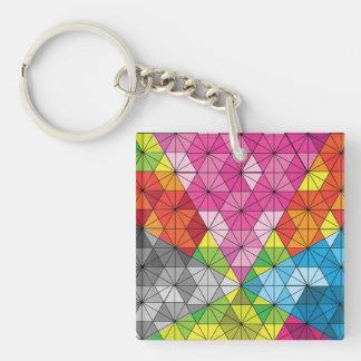 Modelo geométrico del triángulo colorido llavero cuadrado acrílico a doble cara