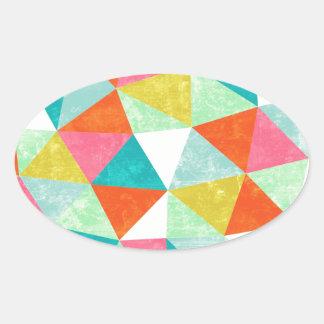 Modelo geométrico del triángulo colorido calcomanías de óvales personalizadas