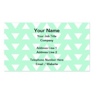 Modelo geométrico del verde menta y blanco tarjetas de visita