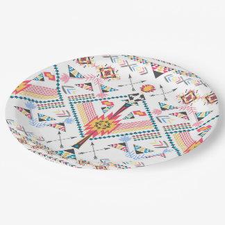 Modelo geométrico étnico tribal de moda fresco plato de papel de 9 pulgadas