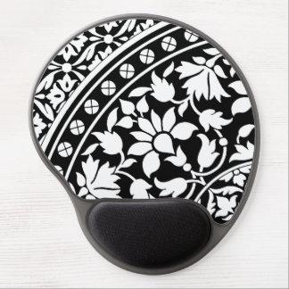 Modelo geométrico floral blanco y negro indio alfombrillas con gel