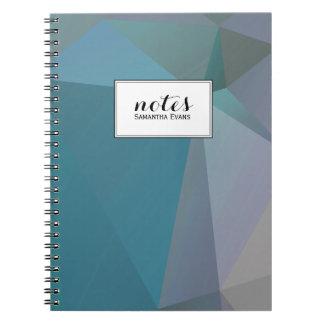 Modelo geométrico gris personalizado de las formas spiral notebook